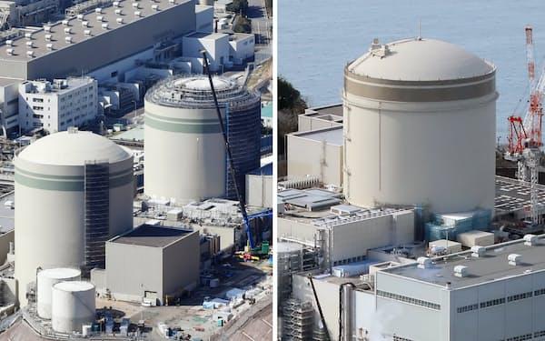 関西電力高浜原発の(写真左、左から)1、2号機と美浜原発3号機
