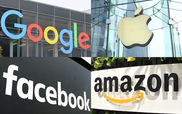 写真部資料)グーグル、アップル、フェイスブック、アマゾンのロゴ