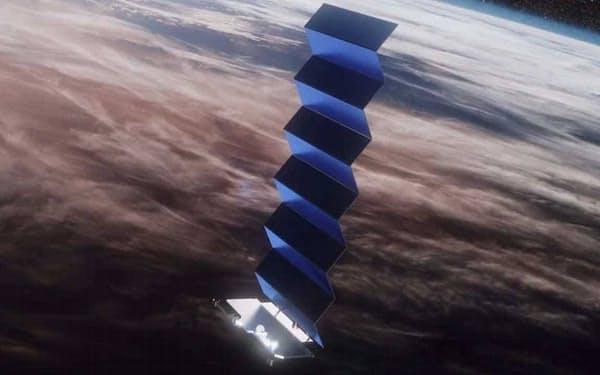 太陽光パネルを展開しているスターリンク衛星(想像図)=米スペースX提供