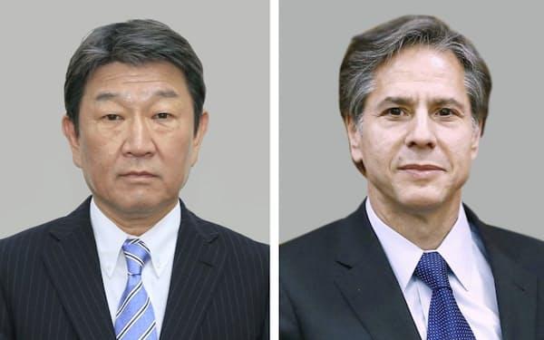茂木敏充外相(左)とブリンケン米国務長官