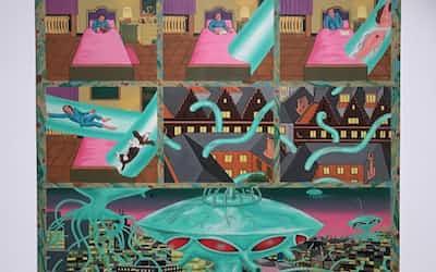 タイガー立石「Green Monster」(1976〜77年、田川市美術館蔵)展示風景                                                   「大・タイガー立石展」(千葉市美術館)より
