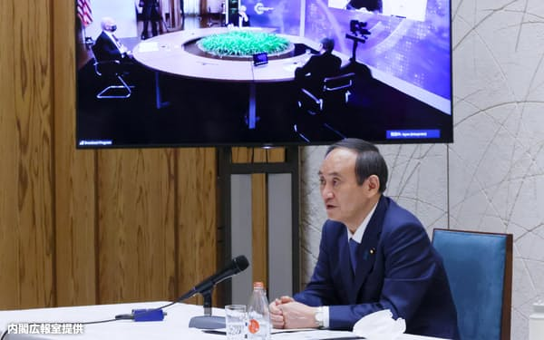 気候変動サミットに出席した菅義偉首相(4月)