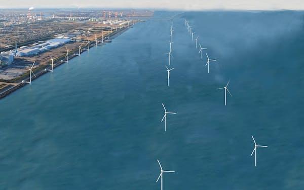 鹿島港沖の大規模洋上風力発電のイメージ(ウィンド・パワー・グループ提供)