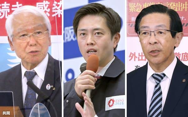 6日、記者の質問に答える(写真左から)井戸兵庫県知事、吉村大阪府知事、西脇京都府知事=共同