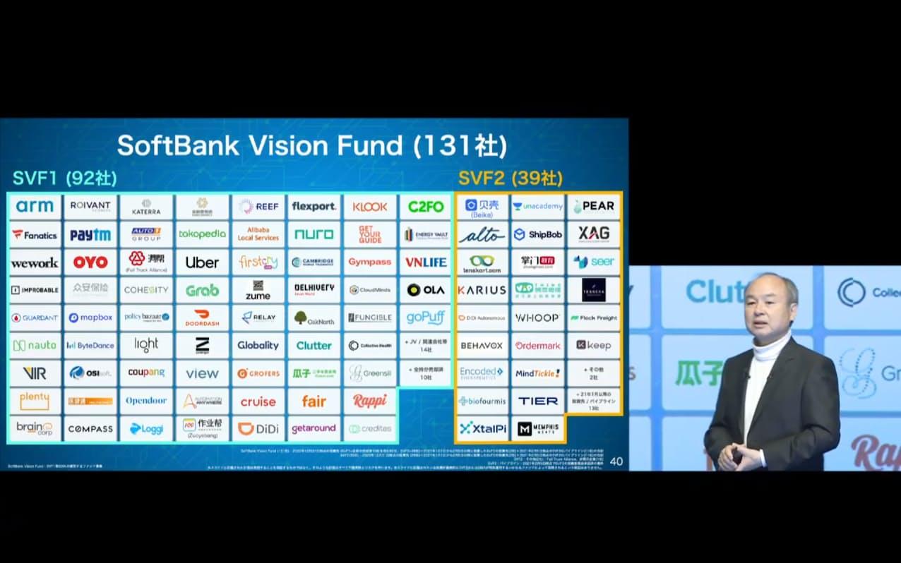 ユニコーンへの投資社数はソフトバンクグループが世界で2番目に多い(オンラインで決算発表する孫正義会長兼社長)