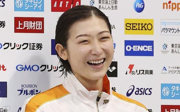 東京五輪出場を決めた池江璃花子選手(4月4日、東京アクアティクスセンター)=共同