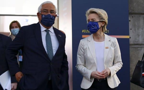 EUのフォンデアライエン欧州委員長㊨(7日、ポルト)=ロイター