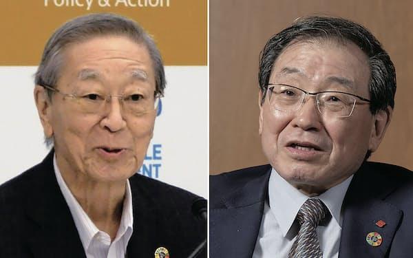 辞任する方針が固まった経団連の中西会長(左)と後任の住友化学会長の十倉氏