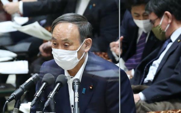 立憲民主党の枝野代表の質問に答える菅首相(10日午前、衆院予算委)