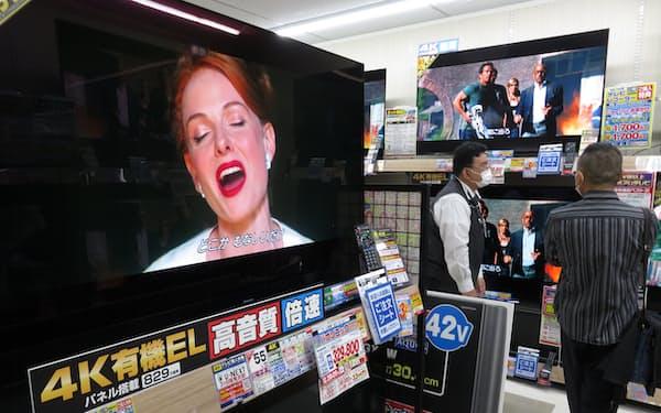 国内では有機ELテレビを生産していた(京都市内の家電量販店)