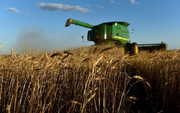穀物価格の上昇は新興国などの財政の重荷に(米国の小麦農園)=ロイター
