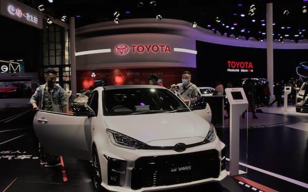 トヨタ自動車など日系大手の4月の中国新車販売は好調だった(4月、上海国際自動車ショー)