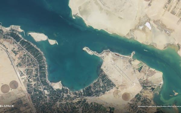 3月に打ち上げた衛星で撮影したスエズ運河の衛星画像