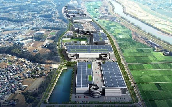 大規模物流施設の完成イメージ。上部の3棟は完成済みで中央部分の2棟を新たに着工