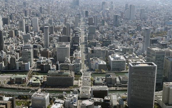 近畿2府4県の4月の倒産件数は過去30年で最少だった(大阪市中心部)