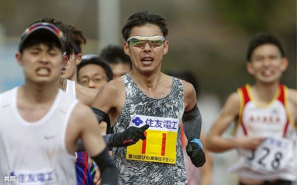 永田はびわ湖毎日マラソンで2時間25分23秒の好タイムをマークした=共同