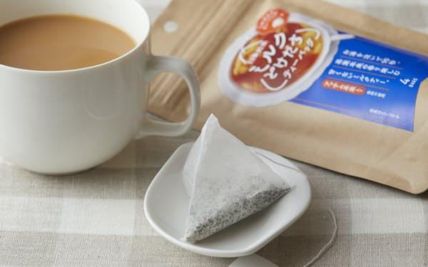 ミルクパウダーと茶葉を使ったティーバッグで、手軽さと香味を両立させた