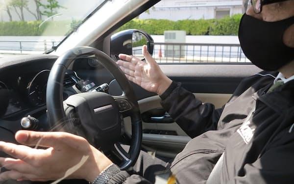 ヴァレオが東京臨海副都心で公開した走行デモの様子(撮影:日経Automotive)