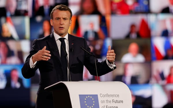 French President Emmanuel Macron delivers his speech on the Future of Europe and to mark Europe Day, at the European Parliament in Strasbourg, France, May 9, 2021. Jean-Francois Badias/Pool via REUTERS