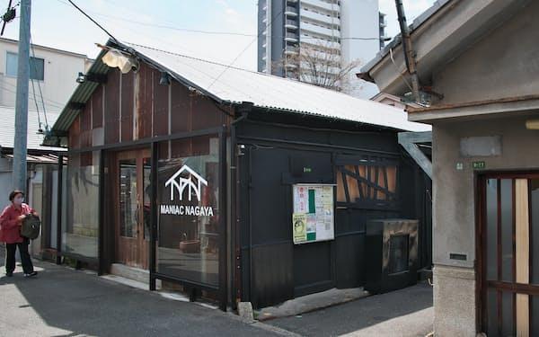古い長屋を改修した「MANIAC NAGAYA」など再生事業が進むがもよん地区(大阪市)