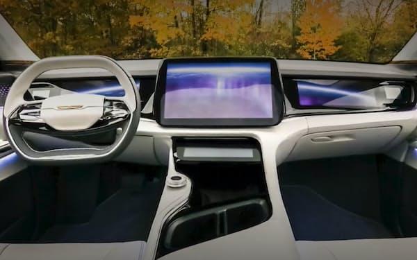 記者会見ではクライスラーブランドとみられる車種に複数の画面を備えたシステムを披露した(ステランティスと鴻海のオンライン発表会より)