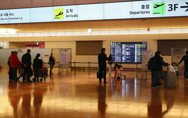 羽田空港の国際線到着ロビー(2020年12月)