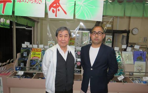 渡辺会長㊧と松田社長はインターネットのM&A仲介システムで承継を実現した(東京都府中市)
