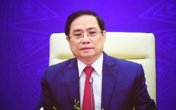 「アジアの未来」で講演するベトナムのファム・ミン・チン首相(20日午前)