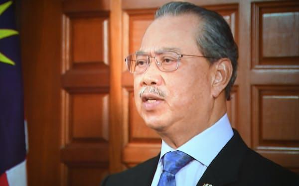 「アジアの未来」で講演するマレーシアのムヒディン首相(20日午前)