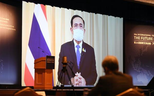 「アジアの未来」で講演するタイのプラユット首相(20日午後、東京都千代田区)