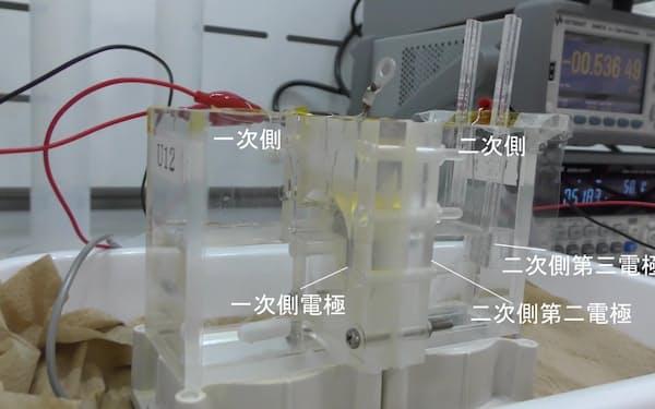 リチウムを回収する装置=弘前大・佐々木一哉教授提供