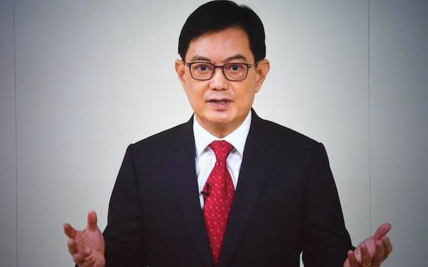 「アジアの未来」で講演するシンガポールのヘン・スイキャット副首相(20日午前)