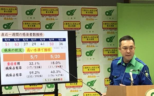 対策本部員会議後にコロナ対策を説明する鈴木英敬三重県知事(21日、県庁)