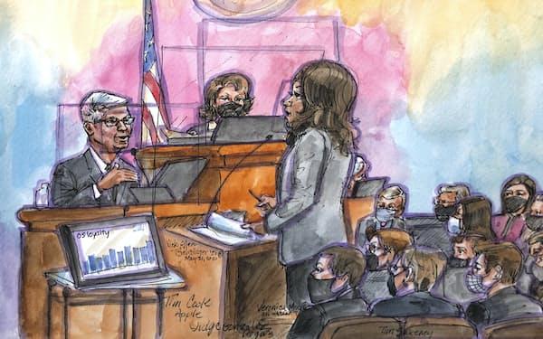 証言台に立ったアップルのクックCEO㊧を描いたスケッチ=AP