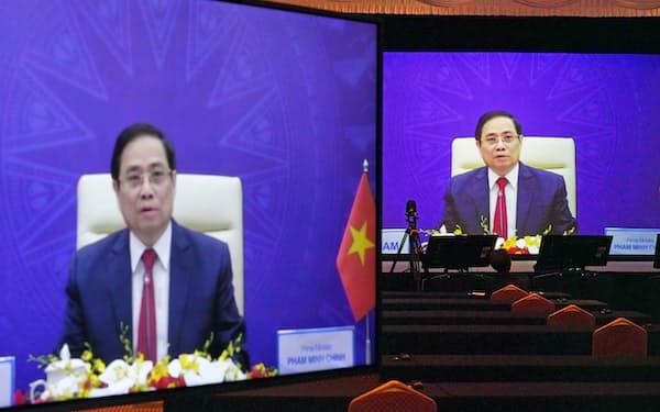 「アジアの未来」で講演するベトナムのファム・ミン・チン首相(20日午前、東京都千代田区)
