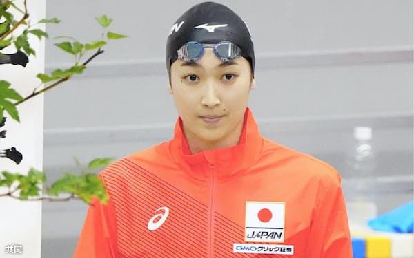 競泳の競技会でレースに臨む池江璃花子(23日、茨城県ひたちなか市)=代表撮影
