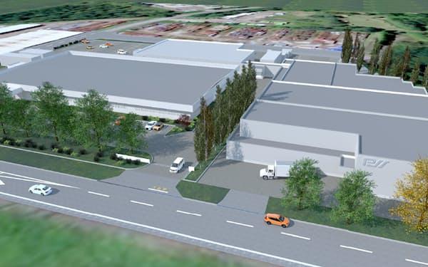 大館試薬センターに第2工場を新設する(完成イメージ、建屋の右側が第2工場)