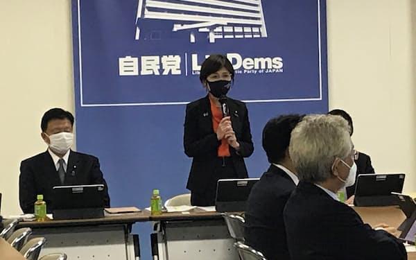 自民党性的指向・性自認に関する特命委員会の稲田朋美委員長(24日、党本部)