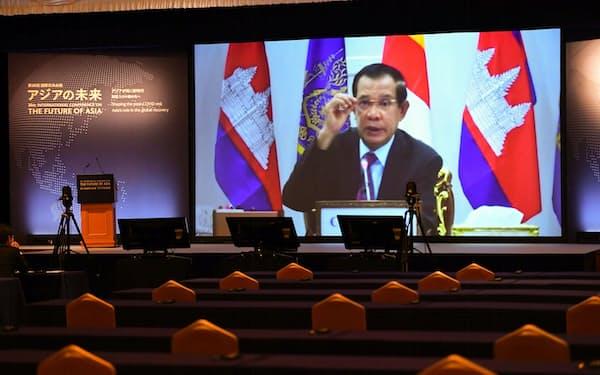 「アジアの未来」で講演するカンボジアのフン・セン首相(20日午前、東京都千代田区)