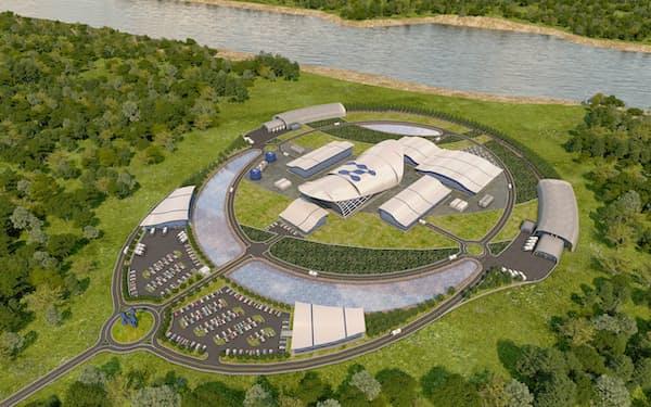 ニュースケールの小型原子炉発電所の完成予想図