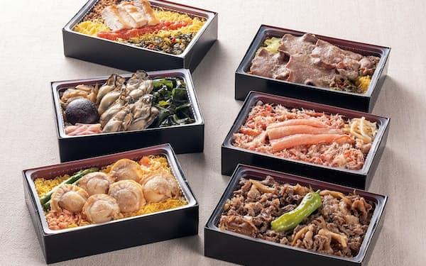 北海道の「鮭ほたてめし」や九州の「明太子かしわめし」など6種類のご当地弁当を用意