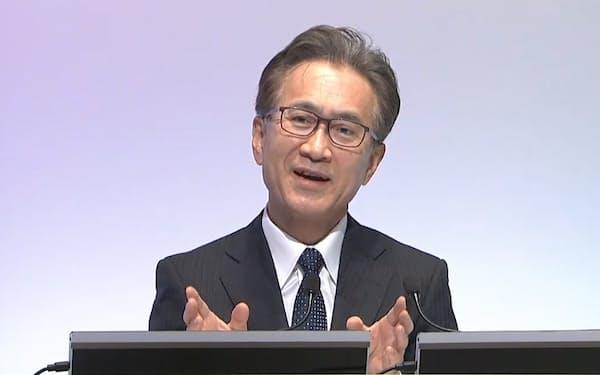 経営方針についてオンラインで記者会見するソニーグループの吉田会長兼社長(5月26日)