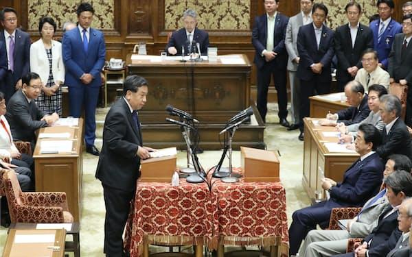 2019年の党首討論。立憲民主党の枝野代表が安倍首相と質疑した