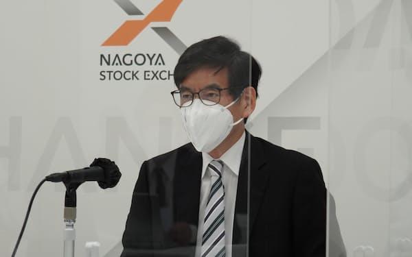 名証の新市場区分を発表する竹田正樹社長(名古屋市、26日)