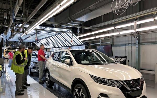 日産自動車の英サンダーランド工場の「キャシュカイ」生産ライン(2019年10月)