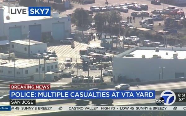 米西部カリフォルニア州サンノゼにある公共交通機関の施設で26日、銃撃事件があった=AP