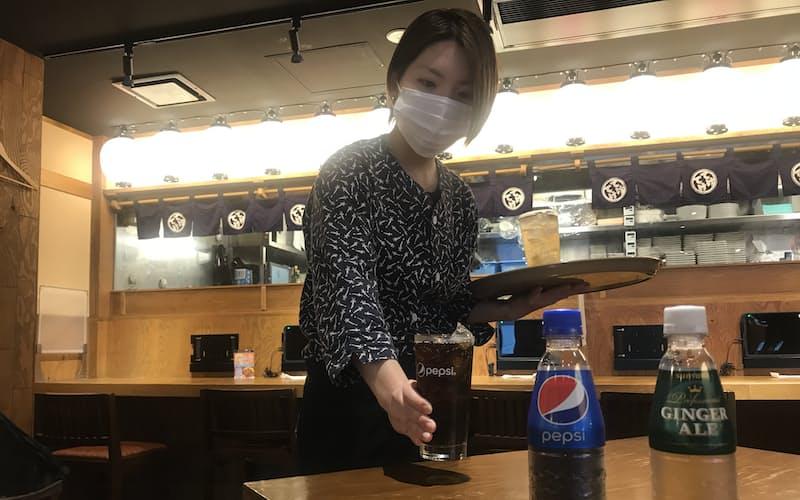 サントリーBFは業務用の清涼飲料をペットボトルに(東京都港区の「てけてけ 田町慶応仲通り店」)