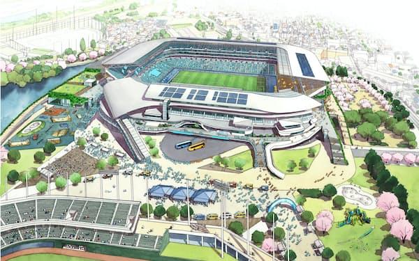 川崎市は等々力陸上競技場を球技専用スタジアムに改修する計画だ(イメージ)