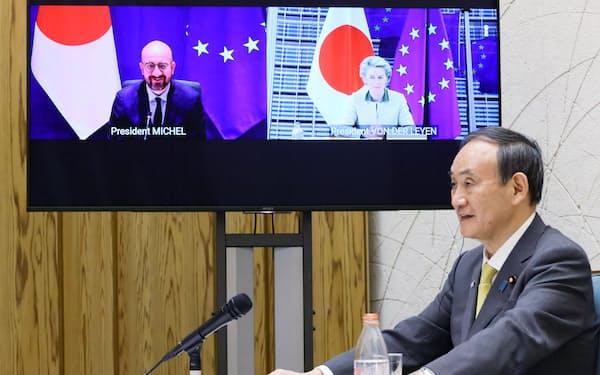 日本とEUは中国への対応で連携を確認した=内閣広報室提供