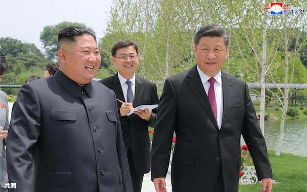 錦繡山迎賓館の庭園を散策しながら話をする北朝鮮の金正恩朝鮮労働党委員長(手前左、当時)と中国の習近平国家主席(同右)ら=2019年6月、平壌(朝鮮中央通信=共同)